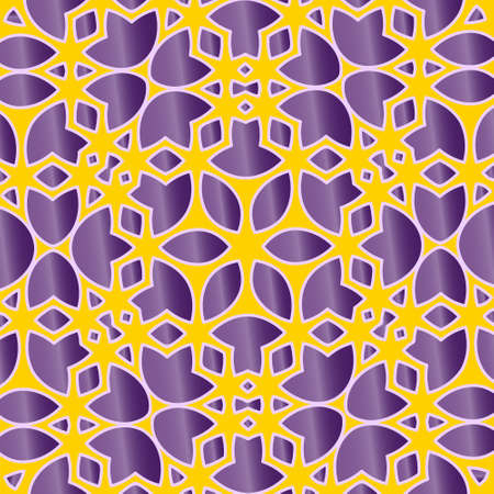 Abstract flower lace background with yellow-violet design Ilustracja