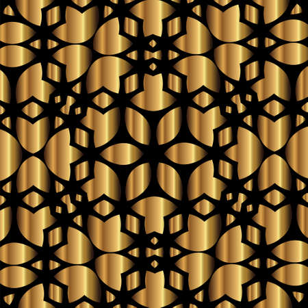 Abstract gold lace design on black background Ilustracja