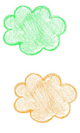 Abstract hand drawn colorful cloud stickers for any design process