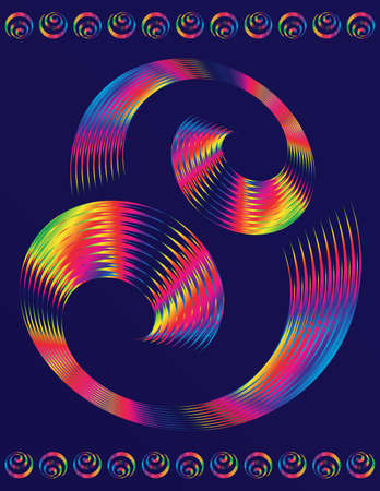 hypnotist: Abstract text template of colorful spiral elements vector design