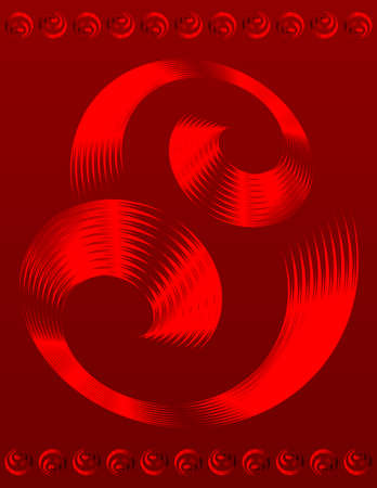 Abstract text template of red spiral elements design Illustration