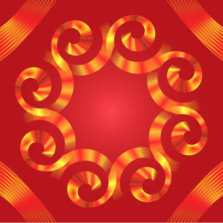 Abstract red-yellow curl flower design with space for text on red background