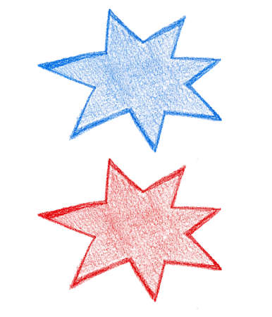 Abstract hand drawn colorful star stickers vector