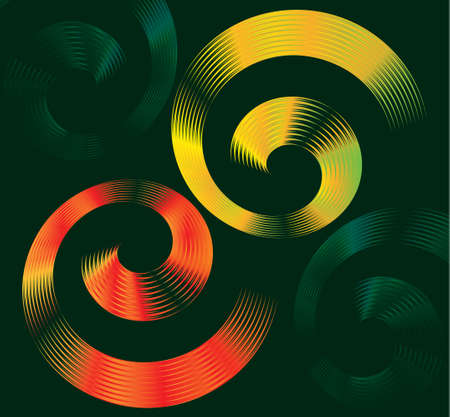 Abstract colorful vector design of spiral elements with space for text