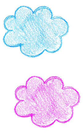 Hand drawn colorful cloud stickers for any design workflow