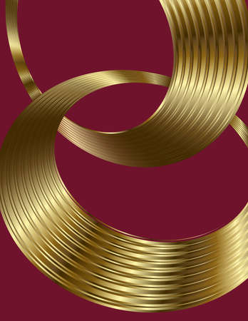 burgundy background: Abstract golden spiral circle text boxes on burgundy background Illustration