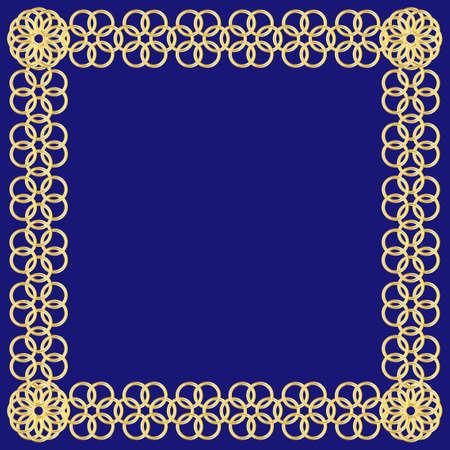 Abstract golden flower of circles frame on blue background Illusztráció