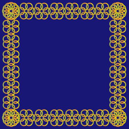 Abstracte kleurrijke bloem van cirkelskader op blauwe achtergrond Stock Illustratie