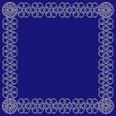 Abstracte zilveren bloem van cirkelskader op blauwe achtergrond Stock Illustratie