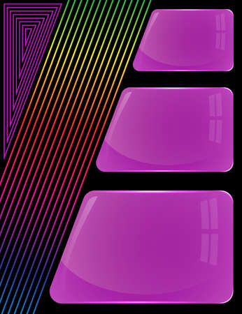 Three glass purple plates of different sizes with colorful decoration lines