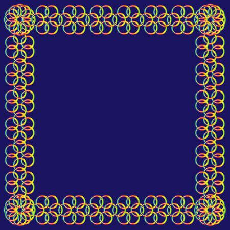 Abstracte regenboog bloem van cirkels frame op een blauwe achtergrond