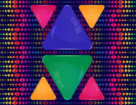Green, blue, pink and yellow glass triangle signs of different sizes on abstract colorful triangle elements ornament