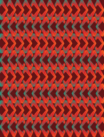 Abstract red, orange and blue twisted long rhombus background