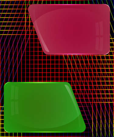 Fuchsia and dark green glass plates with abstract colorful decoration lines
