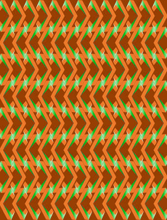 Abstract orange and green twisted long rhombus background