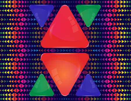 Red, blue and green glass triangle banners of different sizes on abstract colorful triangle elements ornament