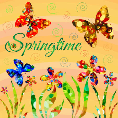 Abstract springtime composition with butterflies and flowers Illustration