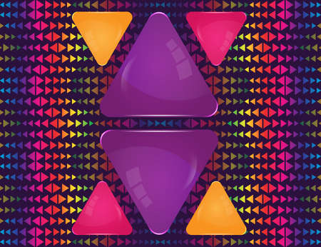 Violet, pink and yellow glass triangle banners of different sizes on abstract colorful triangle elements ornament Stock Illustratie