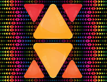 Yellow, red and orange glass triangle signs of different sizes on abstract colorful triangle elements ornament