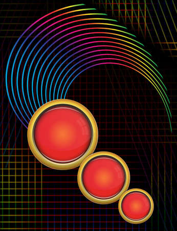 Red glass round text layouts with colorful lines design vector