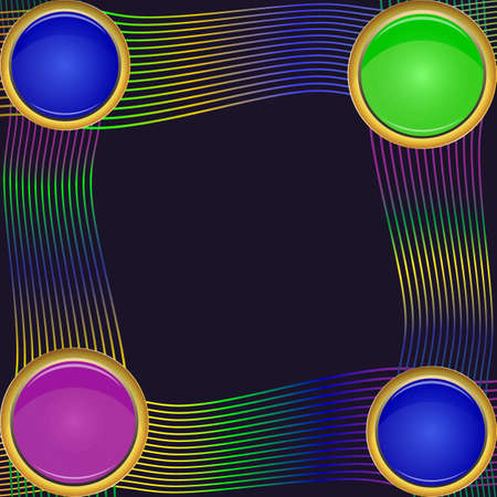 Frame of four green, violet and blue round elements of different sizes with colorful lines design vector 向量圖像