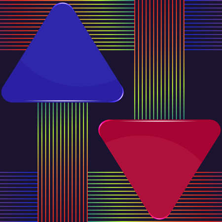 Blue and purple arrow presentation banners with colorful lines design