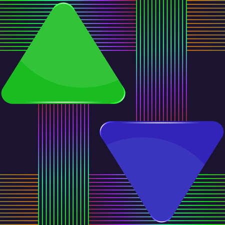 Green and blue arrow signs with colorful lines design