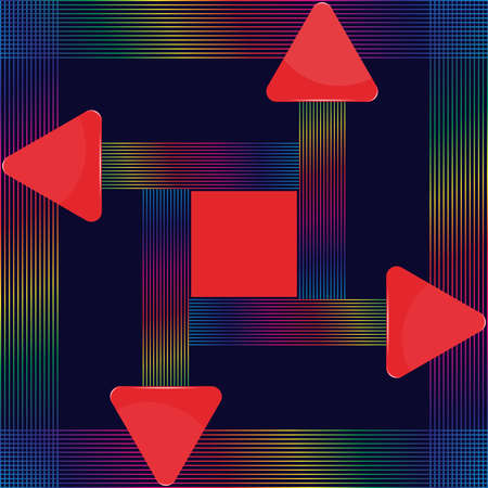 Red glass triangular signs with abstract colorful lines design