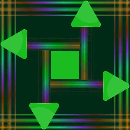 Green glass triangular signs with abstract colorful lines design