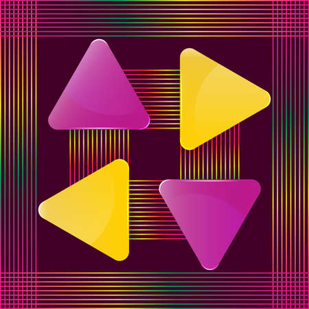 Yellow and violet glass triangular presentation signs with abstract colorful lines design vector