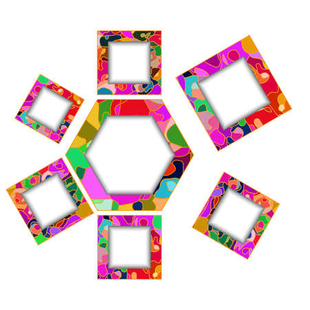 colorful frame: Abstract colorful polygon and square frames for design workflow