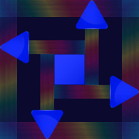 Blue glass triangular signs with abstract colorful lines design