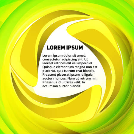 Abstract yellow-green spin text presentation template for design process Ilustrace