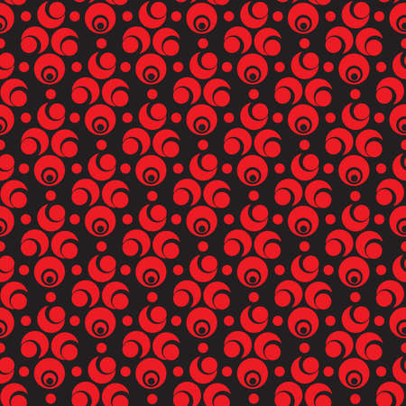 Abstract seamless pattern with red circle and semicircle elements on black background Ilustração