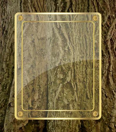 Golden glass board on tree bark background Stock Illustratie