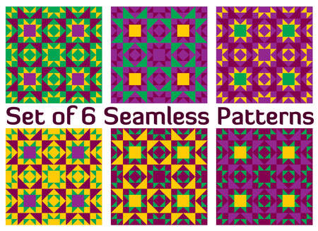 verde y morado: Set of 6 abstract modern geometric seamless patterns with triangles and squares of green, purple, violet and yellow shades Vectores