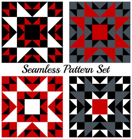 grey: Set of four abstract trendy geometric seamless patterns with triangles and squares of red, black, grey and white shades