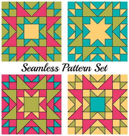 Set of 4 abstract modern geometric seamless patterns with triangles and squares of green, blue, pink and yellow shades Ilustrace