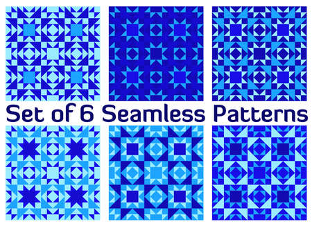 cerulean: Set of six abstract stylish geometric seamless patterns with triangles and squares of blue shades Illustration