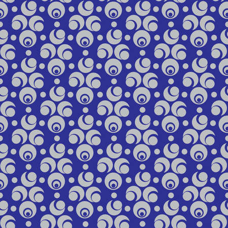silver circle: Abstract seamless pattern with silver circle and semicircle elements on blue background