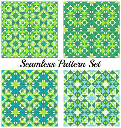 Set of four abstract contemporary geometric seamless patterns with triangles and squares of teal, green, white and blue shades 向量圖像