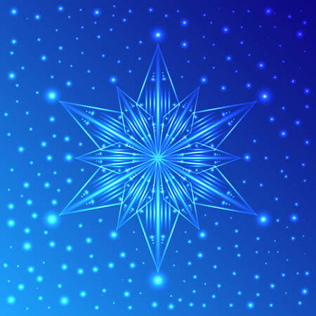 Abstract luminous snowflake on blue background with sparkles Illustration