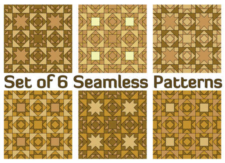 sandy: Set of six abstract trendy geometric seamless patterns with triangles and squares of beige, light brown, goldenrod, satin sheen gold and sandy taupe shades
