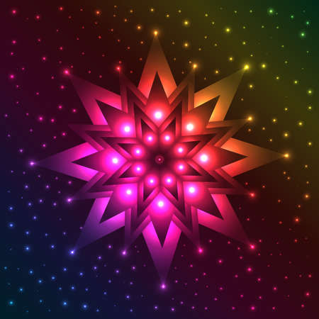 Abstract luminous snowflake on spectrum background with plenty of sparkles