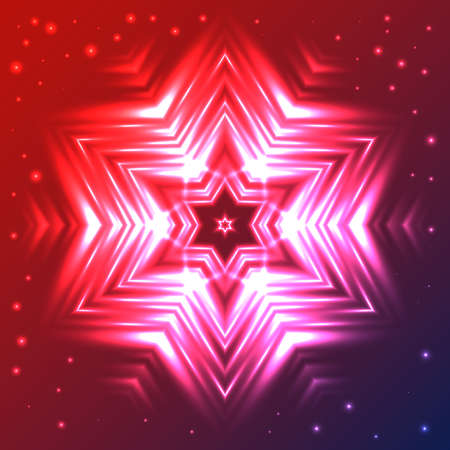 Abstract glow snowflake on red and blue gradient background with sparkles