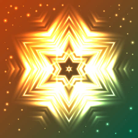 Abstract glow snowflake on orange and green gradient background with sparkles