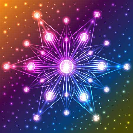 Abstract illuminated snowflake on orange, blue, violet and yellow gradient background with sparkles Illustration