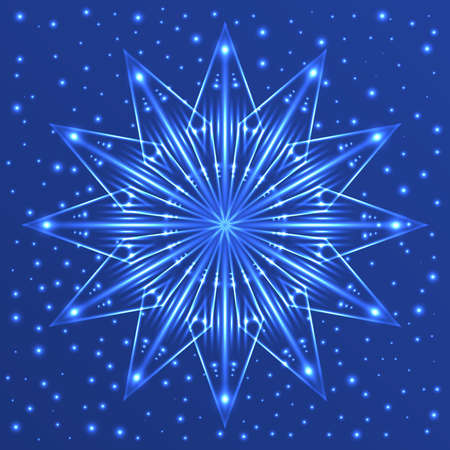 Abstract Christmas fluorescent snowflake on blue background with sparkles Illustration