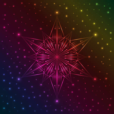 Abstract illuminated snowflake on dark colorful background with plenty of sparkles