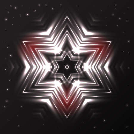 Abstract glowing silver snowflake with red spots on grey to black gradient  background with sparkles